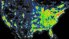 A map of the worst light pollution in the US: | 38 Maps You Never Knew YouNeeded