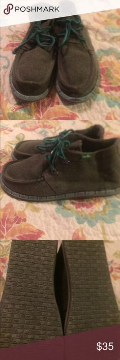 Men's sanuk walla shoes. Mint condition These shoes are comfy and in excellent condition. They are grey with teal shoe laces very fashion forward. Sanuk Shoes