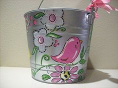 Hand+painted+personalized+girly+bucket+with+by+pinkfishstudios