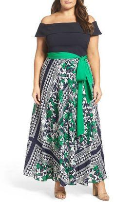Plus Size Women's Eliza J Off The Shoulder Maxi Dress
