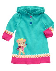 Adorable and fun! Soft hooded sweater dress features a cute musical bear and wavy stripe dot designs on the cuffs and hem.