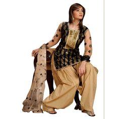 Jacquard Cotton Patch Work Black Salwar Kameez  - EBSFSK28925 ( EBSFSK28 )