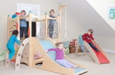 Indoor Playset 616 - Raindrops keep falling on your head? That's not a problem if the clouds and rain have taken over outside when you have an indoor playset from CedarWorks. Nooks and crannies galore for your children to create their own indoor adventures!