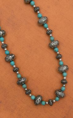 """West & Co. Silver and Turquoise Beaded 22"""" Long Necklace"""