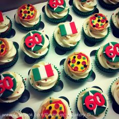 Cupcakes: Italian themed mini 60th birthday cupcakes. With Italian flags & pizzas. Handmade sugarpaste. www.facebook.com/thegrovecupcakery