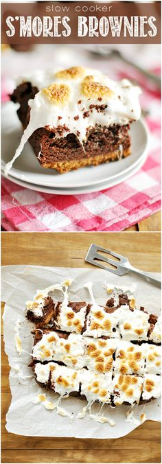 Slow Cooker S'mores Brownies - Let the slow cooker do all the work when it comes to making these ooey, gooey s'mores brownies!