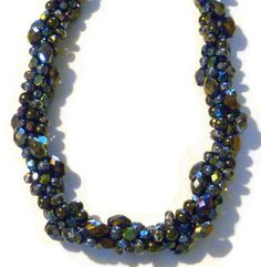Beaded kumihimo cluster necklace - black iridescent seductive bling via Etsy