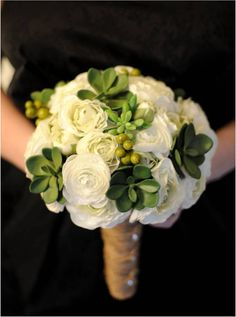 add green berries to bouquet to match boutonnieres