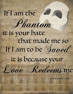 Phantom of the Opera Graphic Quote Print by ClassyGirlsDesign