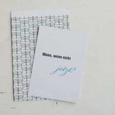 """Papiertüte Schmetterlinge (Design: Jurianne Matter) und DIN A5 Druck """"Wann, wenn nicht jetzt?"""""""