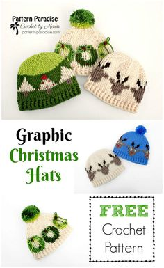 "Kostenlose Häkelanleitung: Graphic Christmas Hats - ""cosas bonitas"" - New Year Crochet Winter, Holiday Crochet, Crochet Gifts, Cute Crochet, Crochet For Kids, Filet Crochet, Crochet Motifs, Crochet Beanie, Crochet Yarn"