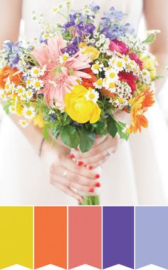 Color Pop Bouquet! | Pretty Bouquet Palettes to Inspire your Spring Wedding | www.onefabday.com