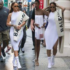 Rihanna In Faustine Steinmetz Pleated Halter Dress Rihanna Faustine Steinmetz white pleated halter dress, Vetements white logo sock boots, Balenciaga logo stole, Rihanna Dior gold shield sunglasses Estilo Rihanna, Mode Rihanna, Rihanna Riri, All White Outfit, White Outfits, Trendy Outfits, Fashion Outfits, Womens Fashion, Looks Street Style