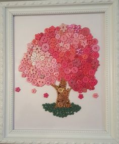 Tree Nursery Button Art Pink Woodland Picture
