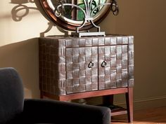 Woven Leather Door Chest - Home Furniture Rental by CORT Furniture