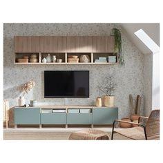 IKEA - BESTÅ TV storage combination walnut effect light gray Tv Bench, Ikea Living Room, Tv On Wall Ideas Living Room, Living Room Storage, Tv Wall Design, Design Table, Interior Accessories, Storage Spaces, Living Room Designs