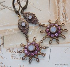 You will certainly make a statement in these gorgeous sparkling vintage style earrings. I have used beautiful vintage Swarovski rose and