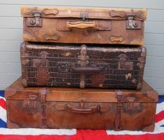 Antique Leather Suitcases £90 to £120 www.colonialsoldier.com