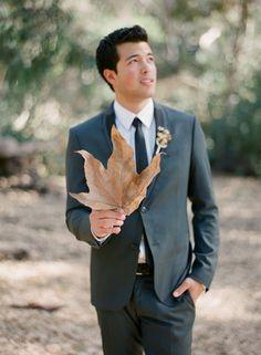 Sharp grey suit via Wedding Sparrow blog - http://weddingsparrow.com