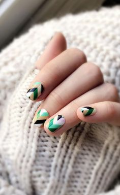 Invoke some nail nostalgia with this classic Chevron pattern in a balanced blend of green, peach, neutral and lilac. Nail Art Hacks, Easy Nail Art, Cool Nail Art, Ncla Nail Wraps, Different Types Of Nails, Lilac Nails, Best Nail Art Designs, Nail Stamping, Perfect Nails