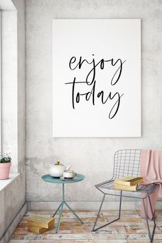 Enjoy Today | Family Sign | Printable Wall Art | Bedroom Decor | Home Sign | Entryway Decor | Inspirational Signs | Bathroom Sign