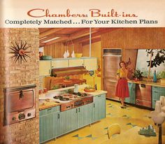 Kitchen 1950's style--an updated version of this mid century kitchen would make me swooooooooooooon. Love the exposed brick and the wooden ceiling.