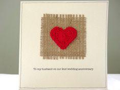 Nd wedding anniversary keepsake card cotton handmade traditional