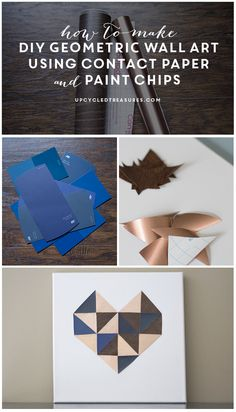 Make this super easy wall art using contact paper and paint chips! upcycledtreasures.com