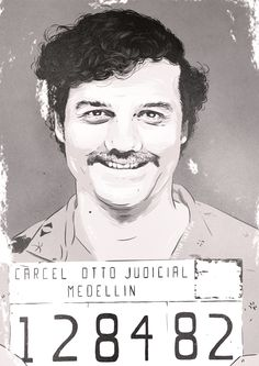 Pablo Escobar (Wagner Moura) mugshot, from Narcos. By Vector That Fox