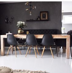 Black Eames Dining Chairs - Black Dining Room Inspiration - Lilly is Love Interior Design Living Room, Living Room Decor, Eames Dining Chair, Lounge Chairs, Dining Tables, Side Tables, Coffee Tables, Dining Room Inspiration, Dining Room Design