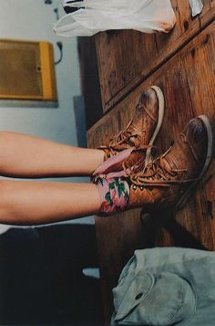 Floral ankle scarf paired with worn combat boots>> very cute