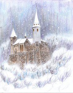 A slightly changed image of Křivoklát castle, coloring pencils Цветные Карандаши, Снежные Шары, Раскраска, Painting, Домашний Декор, Искусство