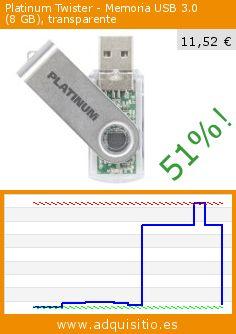 Platinum Twister - Memoria USB 3.0 (8GB), transparente (Accesorio). Baja 51%! Precio actual 11,52 €, el precio anterior fue de 23,37 €. http://www.adquisitio.es/platinum/twister-memoria-usb-30-8-1