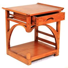Art Nouveau Night Table by Mathieu Patoine. Art nouveau and Asian style inspired night table made of solid cherry and veneer on the top. Meticulously sculpted, this piece defines the artist unique style and design. Two models available (right and left side). Please note: This item ships from Canada and can only be shipped Ground service.