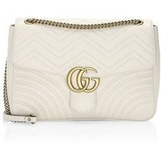 Gucci Marmont Leather Shoulder Bag (8.205 BRL) ❤ liked on Polyvore featuring bags, handbags, shoulder bags, gucci shoulder bag, leather shoulder bag, man bag, white shoulder handbags and hand bags