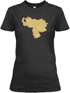 Venezuela Map Gold Shirt Black Women's T-Shirt Front