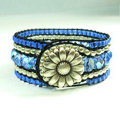 """Blue beaded cuff bracelet  periwinkle on black by BlueGateStudio"" -My mommy makes these!! @Alisa Lehman"