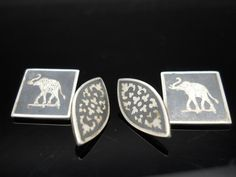 Elephant Cuff Links Sterling Silver Siam Nielloware 925 by Replays
