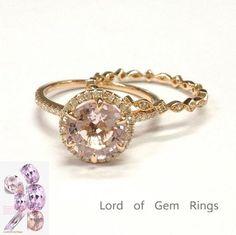 Round Morganite Engagement Ring Sets Pave Diamond Wedding 14K Rose Gold 8mm - Lord of Gem Rings - 1