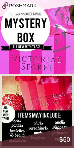 New! Victoria's Secret & PINK mystery box! All items will be new with tags and in your size!! Please comment your shirt, pant, bra, panty, and shoe size below to receive your box of items! The total retail value of all the items in your box will be worth a retail of $100 or more! Check out my love notes for great reviews! Xoxo -Leah  3-5 items included PINK Victoria's Secret Other