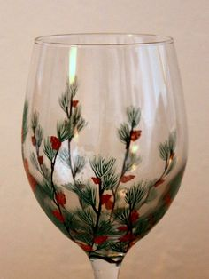 Pine Boughs with Pine Cones Hand Painted Wine by NewHopeElizabeth, $20.00