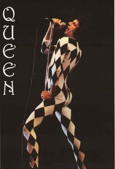 A great poster of Freddie Mercury of Queen wearing his famous harlequin costume! Killer Queen, indeed! Our fabulous selection of Queen posters is fit for a king! Queen Freddie Mercury, John Deacon, Brian May, Music Icon, My Music, Music Wall, Stevie Nicks, Avatar Art, Harry Potter Star Wars