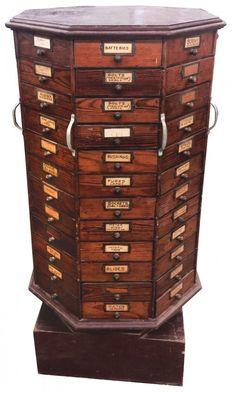 Hardware store nut & bolt cabinet, pine, revolving w/96 : Lot 217