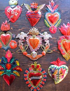 Beautiful tin hearts from Mexico. - Mexico almost never makes just hearts.they make only the good kind: The Immaculate and Sacred Hearts. Tin Art, Thinking Day, Mexican Folk Art, Mexican Crafts, Sacred Heart, Heart Art, Religious Art, Kitsch, Art Lessons