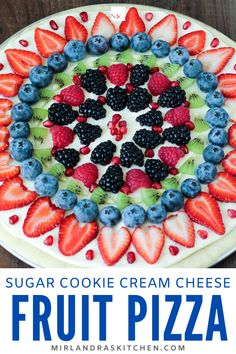 Fresh fruit pizza is always the perfect food! Make it as a family or for a summer BBQ. Everybody loves the easy no chill sugar cookie crust and cream cheese frosting topped with beautiful fresh fruit. You will be the most popular person in the room! Fruit Pizza Cookies, Sugar Cookie Pizza, Easy Fruit Pizza, Sugar Cookie Dough, Cookie Crust, Homemade Sugar Cookies, Summer Desserts, Summer Treats, Fun Desserts