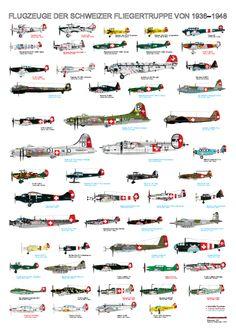 Flugzeuge der schweizer Fliegertruppe von 1936-1948 Ww2 Aircraft, Fighter Aircraft, Military Aircraft, Fighter Jets, Military Gear, Military Vehicles, Swiss Air, May Bay, Ww2 Planes
