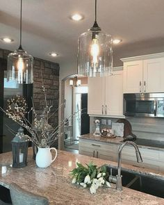 unique kitchen lighting ideas for your wonderful kitchen 3 ~ mantulgan.me unique kitchen lighting ideas for. Kitchen Lighting Design, Farmhouse Kitchen Lighting, Kitchen Island Lighting, Kitchen Lighting Fixtures, Farmhouse Style Kitchen, Modern Farmhouse Kitchens, Rustic Kitchen, Kitchen Ideas, Kitchen Modern
