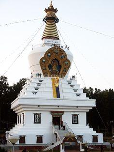 The Stupa of the Descent from Tushita Heaven, Mindroling Monastery, Clenmentown (near Dehradun, India).  Photo courtesy of Nyingma School of Tibetan Buddhism.