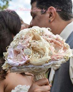 RUSTIC BROOCH BOUQUET, Deposit, Vintage Fabric Flower Bouquet, Custom Brooch…