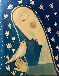 Young Mary with Dove by Rose Walton Original Painting Catholic Art, Religious Art, Angel Images, Rock Painting Ideas Easy, Madonna And Child, Primitive Folk Art, Naive Art, Mexican Folk Art, Sacred Art